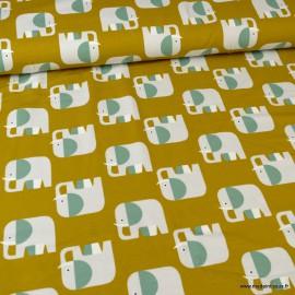 Tissu jersey BIO motifs élephants fond Moutarde - GOTS