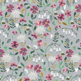 Tissu popeline motifs fleurs et abeilles fond Gris - Oeko tex