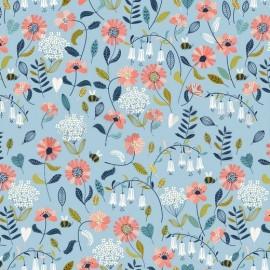 Tissu popeline motifs fleurs et abeilles fond Bleu - Oeko tex