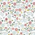 Tissu popeline motifs fleurs et abeilles fond Blanc - Oeko tex
