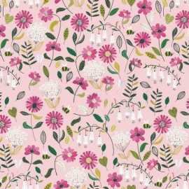 Tissu popeline motifs fleurs et abeilles fond Rose - Oeko tex