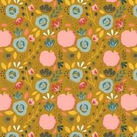 Tissu popeline motifs Pêches et fleurs fond Ocre - Oeko tex
