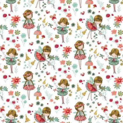 Tissu popeline Magic Garden motifs fées et fleurs fond blanc - Oeko tex
