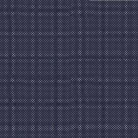 Tissu coton Enduit motifs Pois blanc fond marine -  Oeko tex