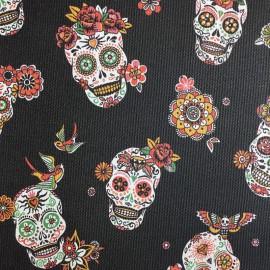 Tissu Simili cuir rigide motif tête de mort Calavera fond Noir