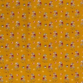 Tissu popeline motifs daims (bambi) fond moutarde - Oeko tex
