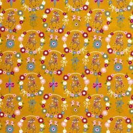 Tissu popeline motifs daims (bambi) et fleurs fond moutarde - Oeko tex
