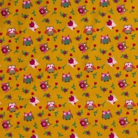 Tissu popeline motifs hiboux et fleurs fond moutarde - Oeko tex