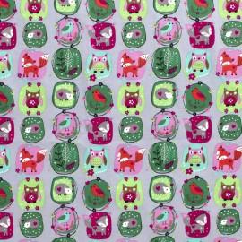 Tissu popeline motifs renards, hiboux et oiseaux fond gris - Oeko tex