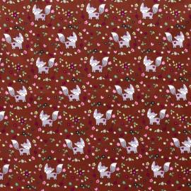 Tissu popeline motifs renards fond terracotta - Oeko tex
