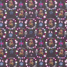 Tissu popeline motifs daims (bambi) et fleurs fond Gris anthracite - Oeko tex