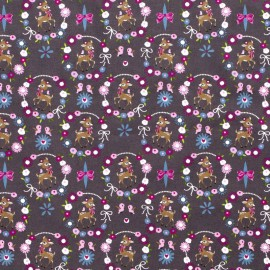 Tissu popeline motifs daims (bambi) et fleurs fond Gris - Oeko tex