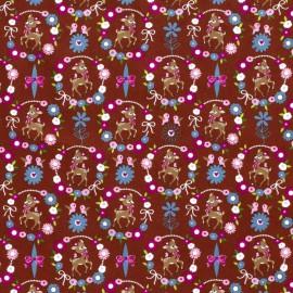 Tissu popeline motifs daims (bambi) et fleurs fond Terracotta - Oeko tex