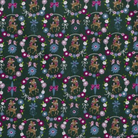 Tissu popeline motifs daims (bambi) et fleurs fond Kaki - Oeko tex