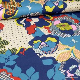 Tissu Jersey Viscose motif fleurs fond bleu - Oeko tex