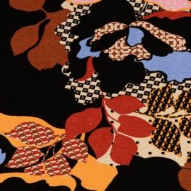 Tissu Jersey Viscose motif fleurs fond noir - Oeko tex