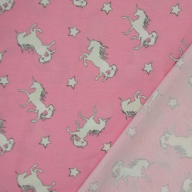 Tissu Jersey imprimé Magic Licorne Rose - oeko tex