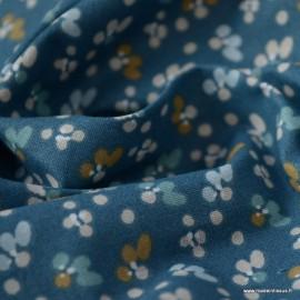 Tissu coton Enduit Fiduo motifs fleurs fond Indigo -  Oeko tex