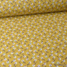 Tissu coton Enduit Lilipan fond Ocre et Violet -  Oeko tex