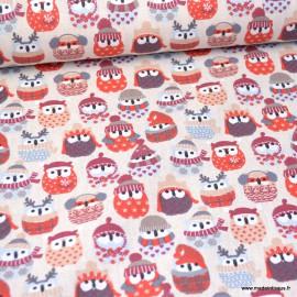 Tissu coton imprimé hiboux des neiges coloris Lin et rouge - oeko tex