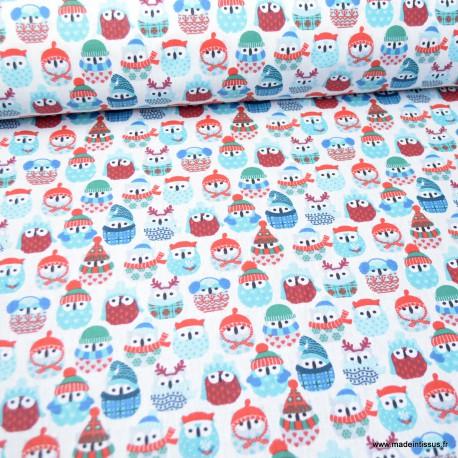 Tissu coton imprimé hiboux des neiges coloris Bleu glacier - oeko tex