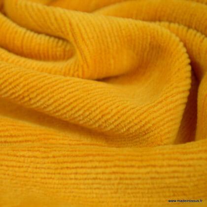 Tissu velours rasé côtelé coloris Moutarde - Oeko tex