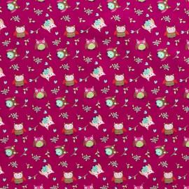 Tissu popeline motifs hiboux et fleurs fond Fuchsia - Oeko tex
