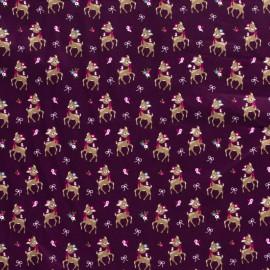 Tissu popeline motifs daims (bambi) fond Prune - Oeko tex