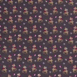 Tissu popeline motifs daims (bambi) fond Gris anthracite - Oeko tex