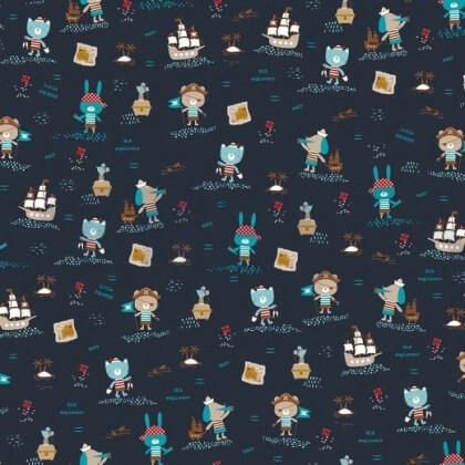 Tissu popeline BIO motifs Pirates fond bleu marine - Gots
