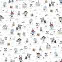 Tissu popeline BIO motifs Pirates fond blanc - Gots