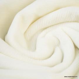 Tissu velours rasé côtelé coloris Blanc cassé - Oeko tex