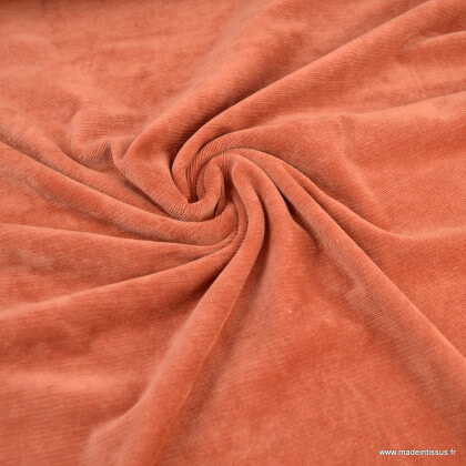 Tissu velours rasé côtelé coloris Terracotta - Oeko tex