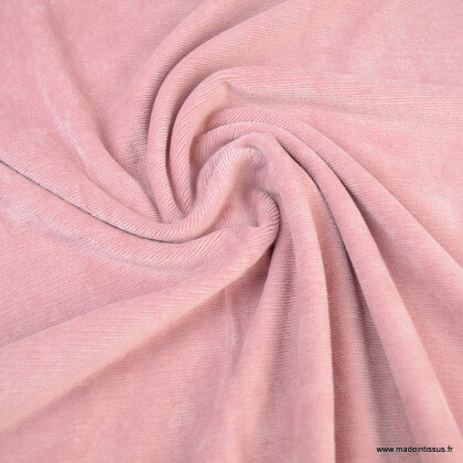 Tissu velours rasé côtelé coloris Vieux rose - Oeko tex