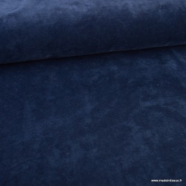 Tissu velours rasé côtelé coloris bleu marine - Oeko tex
