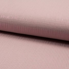 Tissu Double gaze à rayures Lurex fond Rose