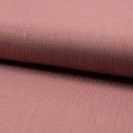 Tissu Double gaze à rayures Lurex fond Vieux rose