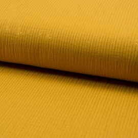 Tissu Double gaze à rayures Lurex fond Moutarde