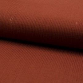 Tissu Double gaze à rayures Lurex fond Brique