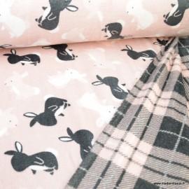 Tissu doudou motifs lapin envers Tartan - Rose