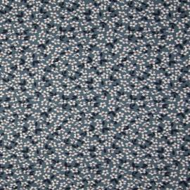 Tissu jersey motifs fleurs fond Bleu - Oeko tex