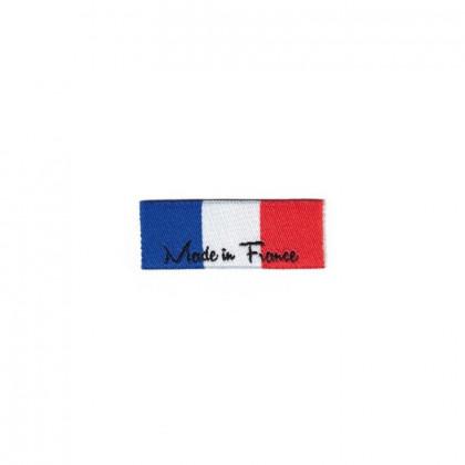 """Etiquette tissée à coudre message """"Made In France"""" 15 x 40mm"""