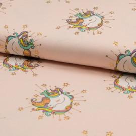Tissu Jersey imprimé Glitter Licorne fond Rose clair - oeko tex