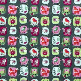 Tissu popeline motifs renards, hiboux et oiseaux fond Kaki - Oeko tex