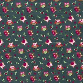 Tissu popeline motifs hiboux et fleurs fond Kaki - Oeko tex