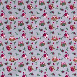 Tissu popeline motifs hiboux et fleurs fond Gris - Oeko tex