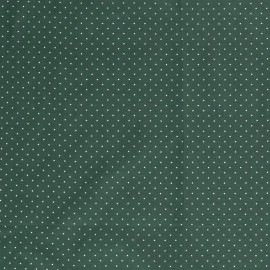 Tissu Popeline coton imprimé petit pois fond Kaki - oeko tex