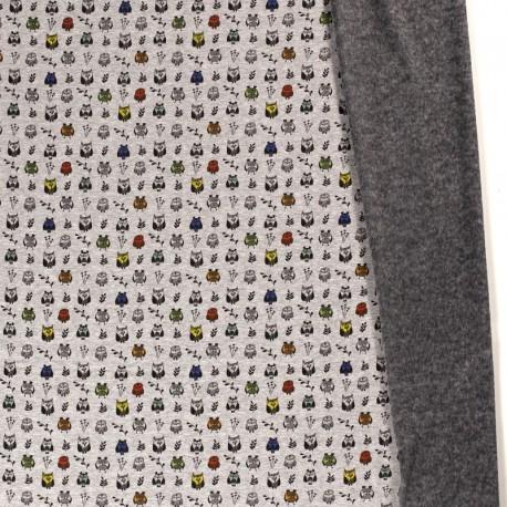 Tissu Sweat envers Minky motifs Hiboux fond gris - oeko tex