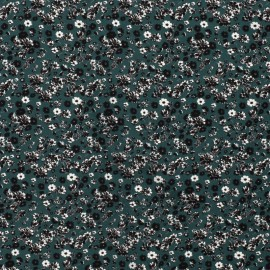 Tissu Viscose motifs fleurs fond Petrole