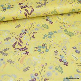 Tissu Popeline en coton Bio & oeko tex motifs fleurs et oiseaux fond jaune